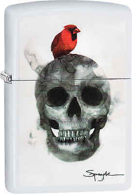 Zippo Classic Skull & Bird White Matte Windproof Lighter 29644