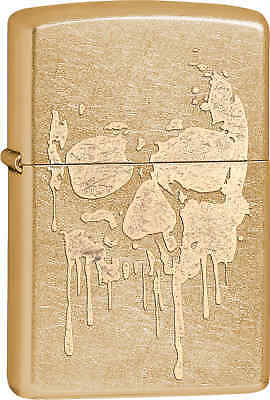 Zippo Classic Grunge Skull Gold Dust Windproof Lighter 29401