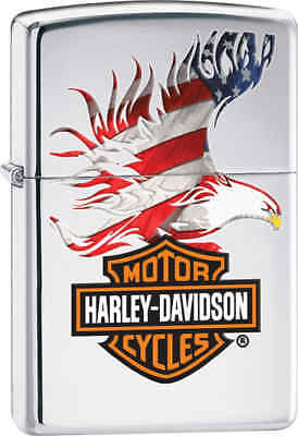 Zippo Classic Harley Davidson Eagle High Polish Chrome Windproof Lighter 28082