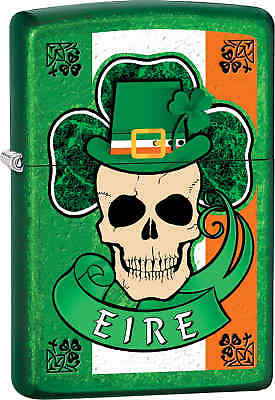 Zippo Classic Eire Clover Skull Meadow Windproof Lighter Z570