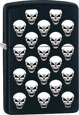 Zippo Classic White Skulls Black Matte Windproof Lighter Z569