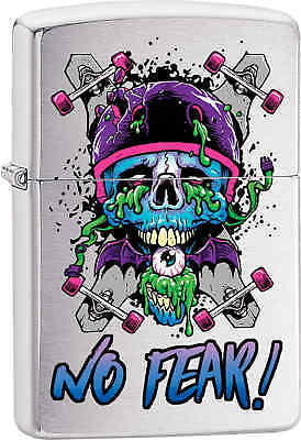 Zippo Classic No Fear Skull Brushed Chrome Windproof Lighter Z568