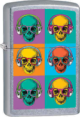 Zippo Classic Colorful Skulls Street Chrome Windproof Lighter Z555