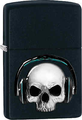 Zippo Classic Skull Headphones Black Matte Windproof Lighter Z437