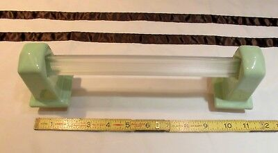 """Vintage Ceramic *Apple Green* Towel Bar Brackets-Post one pair with 24"""" pole NOS"""