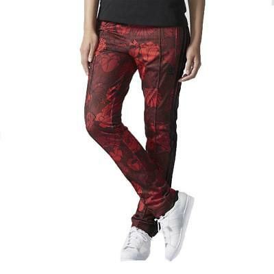adidas originals Womens Track Pants Red Black Floral Firebird Tracksuit Bottoms