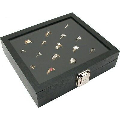 Glass Top Display Case 36 Slot Ring Insert Liner Jewelry Lid Storage Box Tray