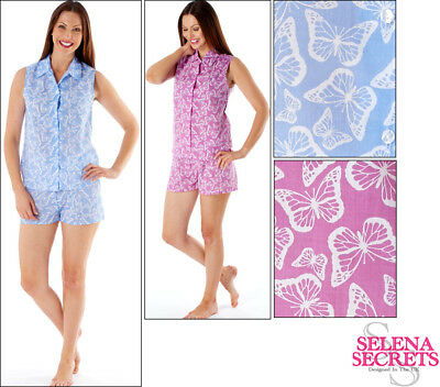9bf5522c855f LADIES WOMENS PYJAMAS Butterfly Shortie Sleveless Buttoned Shorts Summer  Spring - £7.99