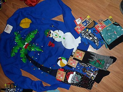 lot of ugly sweater items~ sweater / boxers / socks ~  small ~ mens funny