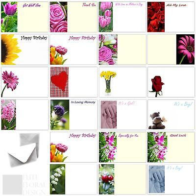 50 x Florist Flower Message Cards Birthday Annivesary Funeral Mothers Day Blank