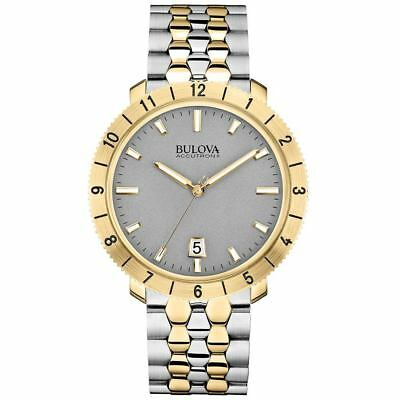 Bulova Men's Accutron II 98B216 Moonview Quartz Grey Dial Two-Tone 42mm Watch