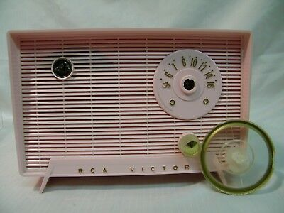Vintage Working 1950's  RCA Victor Model 6-X-5F AM Tube Radio PINK TIFFANY