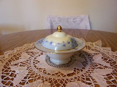Stouffer Studio R. S. Germany Covered Dish Small Blue Flowers & Gold