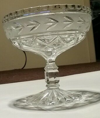 Crystal Zajecar Pedestal Serving Candy Dish Fruit Bowl Yugoslavia Etched Frosted