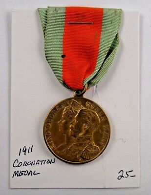 1911 Coronation of George V and Queen Mary Commemorative Pin Badge Ribbon Medal