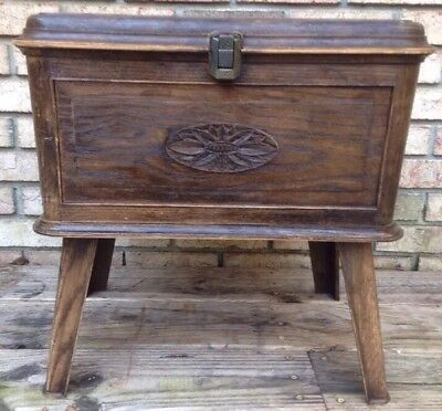 VTG LERNER SEWING BASKET BOX CHEST Stand Plastic Faux Wood on Legs Table Flower