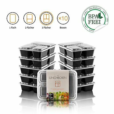 Fitness Meal Prep Containers 3Fach Bento Box Lunchbox Brotdose 10Er Set