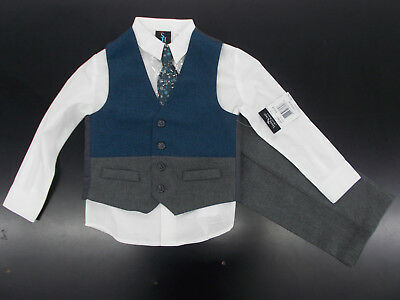 b70e32697 BOYS YOUNG KINGS by Steve Harvey 4pc Dark Teal   Gray Vest Suit Size ...