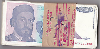 YUGOSLAVIA 50000 DINARA 1993 issue  P130 - CIRC BUNDLE 100 PCS