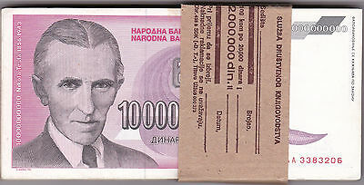 YUGOSLAVIA 10 BILLION DINARA P127 100 pcs pack Hyperinflation  NIKOLA TESLA VF