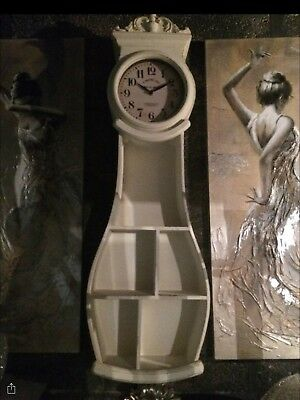 Shabby Chic Wall Mounted Clock With Shelves Antique White
