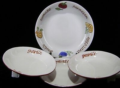 "Pottery Barn CAFE PASTA Set 13"" Serving Bowl & 3 10"" Indiv Bowls 4 pcs Large"
