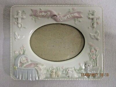 "Russ Girl's Christening ""Baby's Baptism"" Ceramic Picture Frame"