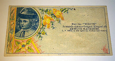Antique Early White Sewing Machine Victorian Advertising Lithograph Trade Card!