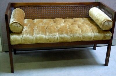 VINTAGE PECAN WITH GOLD VELVET SETTEE ~  BENCH with Roll PILLOWS Circa 1970's