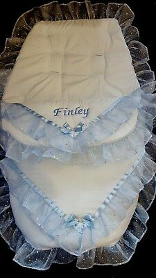 Personalised Pram Cosytoes Footmuff available in blue