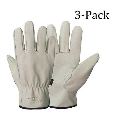 Mens Work Gloves Durable Leather Work Gloves For Gardening Ranching 3-Pairs XL