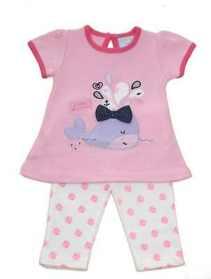 Hello summer whale Baby girls two piece cotton set
