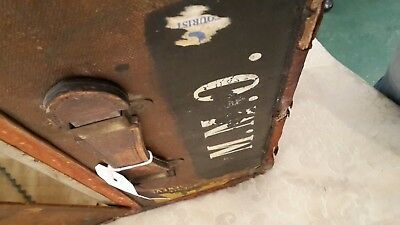 antique leather trunk suitcase late 18th century large
