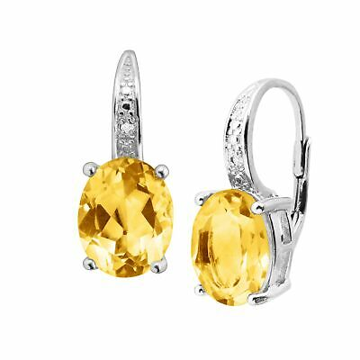 4 ct Natural Citrine Earrings with Diamonds in Sterling Silver