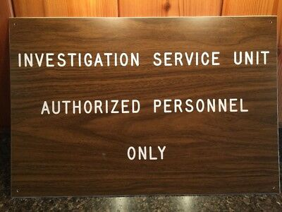 "Old 1970s Vintage FBI Authorized Personnel Sign 15""x18"" - Direct from FBI Agent"
