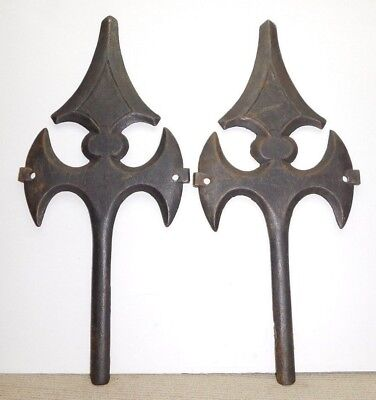 19thC Antique Victorian Cast Iron Architectural Building Spear Star Wall Anchor