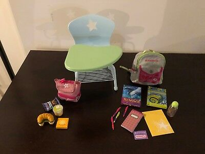 American Girl Doll School Desk Set With Backpack Lunch Box