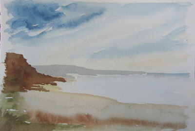 HAND painted WATERCOLOUR artist PICTURE card CLOUDs BLUE brown 19.5x13.5cm CRAFT