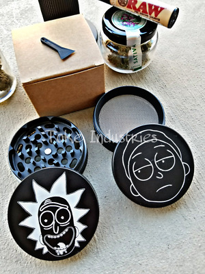 63mm Rick And Morty Custom Grinder Herb Fire Grinder 420 4 Piece Zinc Alloy