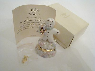 LENOX Porcelain Hinged Box  - Sweet Surprise Gingerbread Man with Gold Charm