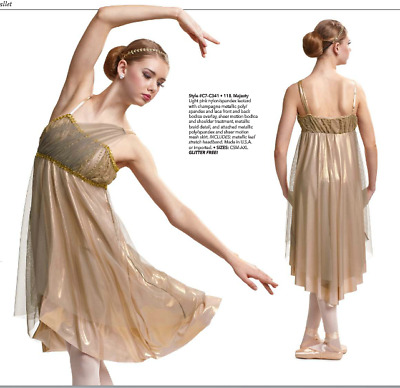 """Majesty"" Long Pink Lyrical Ballet Curtain Call Dance Costume Adult Small NEW!"