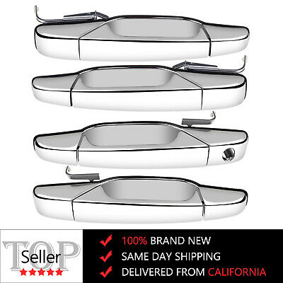 Chrome Outer Outside Exterior Door Handles Set of 4 Kit for Chevy Pickup Truck