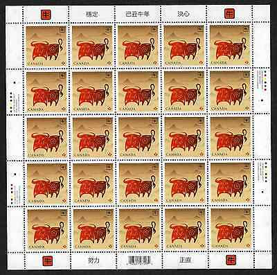 Canada Stamps - Full Pane of 25 - Lunar New Year / Year of the Ox #2296 - MNH