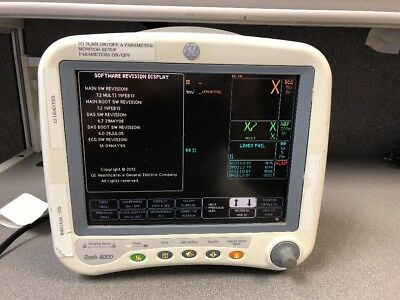 GE Dash 4000 Patient Monitor with SpO2, NIBP, ECG, Temp, Recorder, Masimo