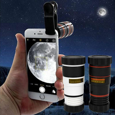 Clip-on 8X Zoom Optical Lens Telescope for Universal Mobile Cell Phone Camera