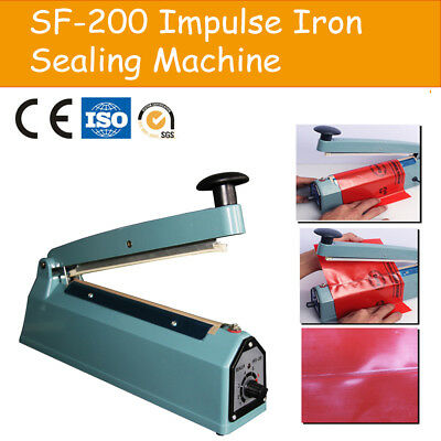 "200mm Impulse Heat Sealer Hand Iron 8"" Machine Poly Bag Sealing Electric"