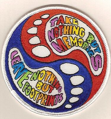 "Patch ""TAKE NOTHING BUT MEMORIES - LEAVE NOTHING BUT FOOTPRINTS"" embroid. emblem"