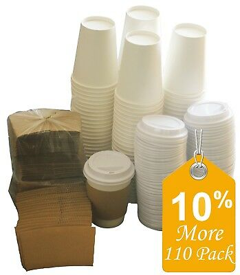 Disposable Paper Coffee Hot Cups Lids and Sleeves 12Oz cup Birthday 110 Counts