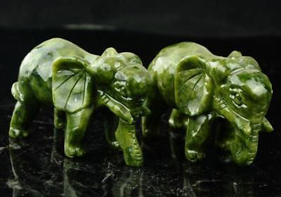 A Pair of Chinese 100% Natural Green Jade HandCarved Elephant Statues (2pcs)