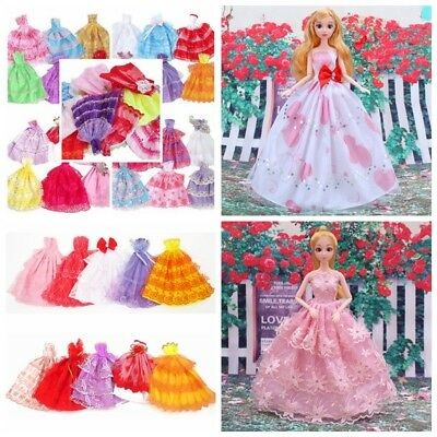 6pcs Handmade Wedding Dress Party Gown Clothes Outfits For Barbie Doll Random